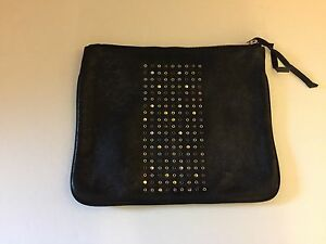 Image is loading NEW-Cynthia-Vincent-Destressed-Black-Leather-Zippered- Clutch- 135079923f2a8