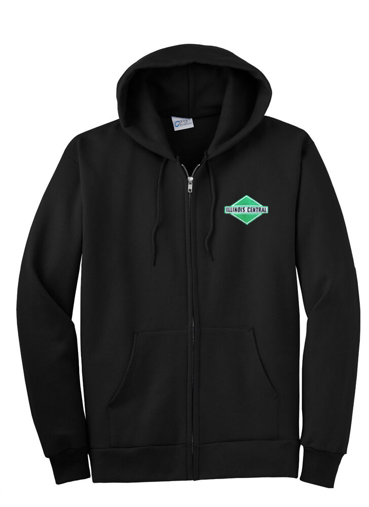 Illinois Central Grün Diamond Logo ZippeROT Hoodie Sweatshirt