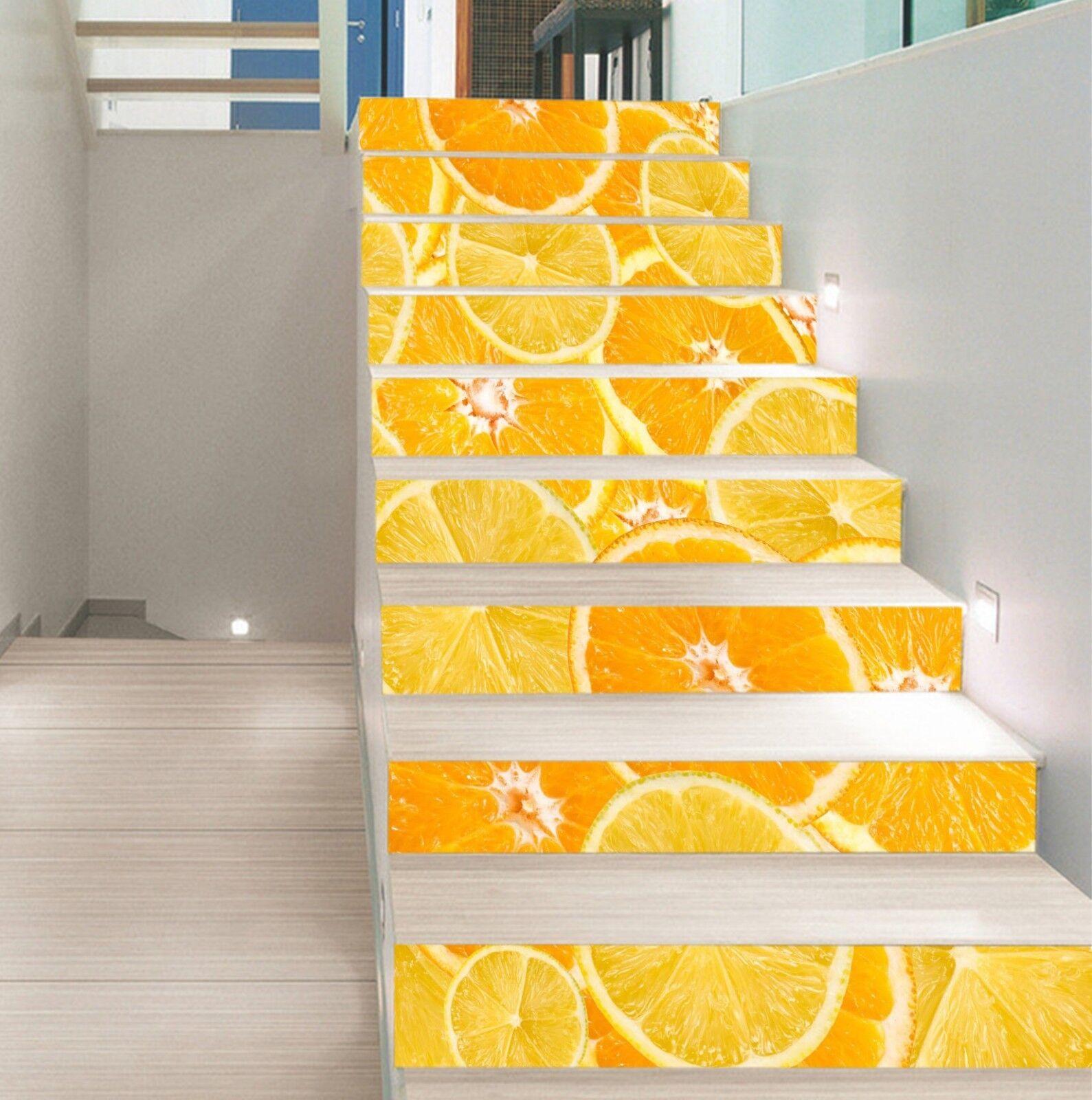 3D jaune Lemon Stair Risers Decoration Photo Mural Vinyl Decal Wallpaper CA