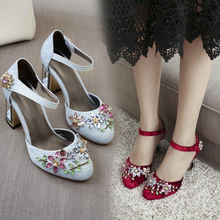 Womens Velvet Rhinestone Mary Jane shoes Vintage High Block Heels shoes Size