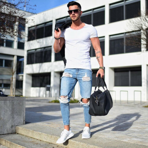 Men/'s Spring Destroyed Ripped Design Fashion Ankle Pants Skinny Casual Jeans B