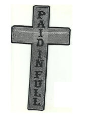 Christian Motorcycle Biker Back Patch Cross Paid In Full 10x7 for Biker Vest