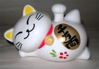 SOLAR POWERED WAVING LUCKY CAT MANEKI NEKO  - GOOD FORTUNE & PROSPERITY
