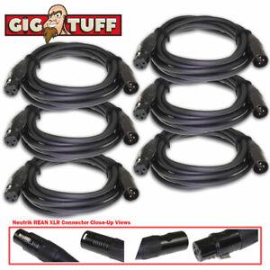6-pack Gig Tuff 10 Ft (environ 3.05 M) Tour Pro Microphone Câble Neutrik Rean Xlr Awg20 Ofc 6.5 Mm-afficher Le Titre D'origine Ventes De L'Assurance Qualité
