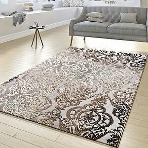 Teppich Wohnzimmer Abstrakt Ornament Muster Kurzflor Teppich Meliert