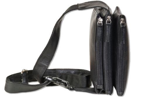 Bauchtasche mit 3 großen Reißverschluss-Taschen Rimbaldi® Leder Gürteltasche