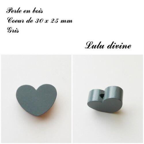 Perle en bois de 30 x 25 mm, Perle plate Coeur : Gris