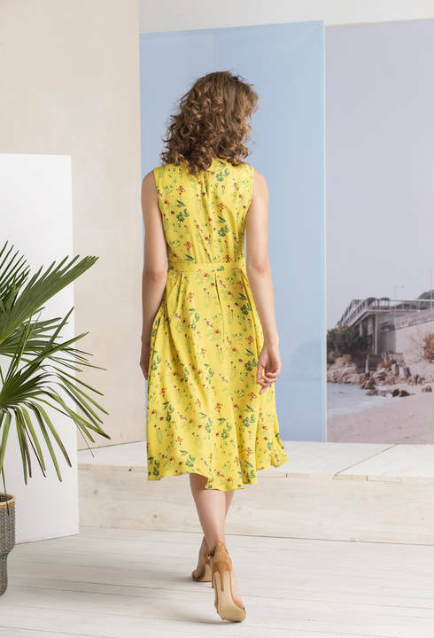 IVKO Kleid yellow Yellow Plissee-Dress Viskose Floral Floral Floral Print pleated 191545 39d2d9