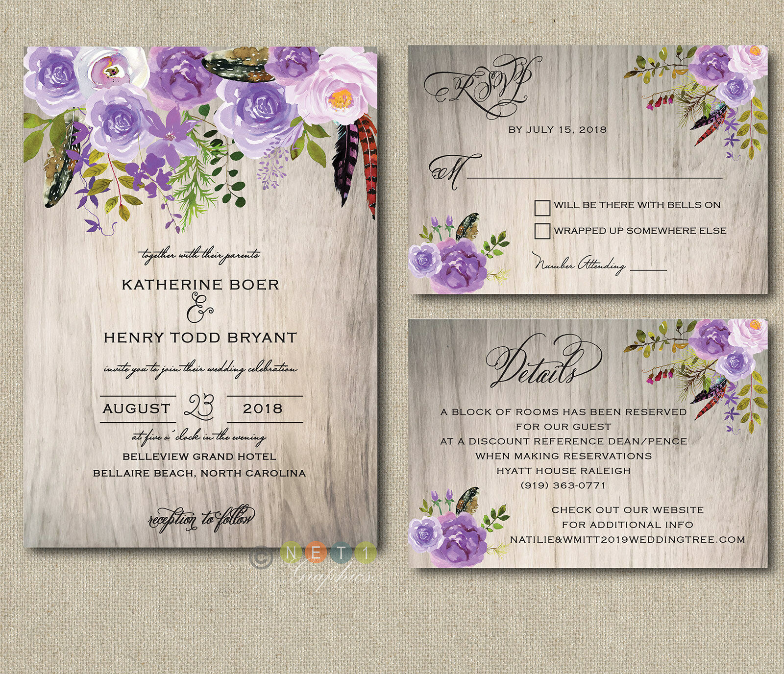 100 Personalized Wedding Invitations Rustic Wood Lavender Lilac Floral Suite
