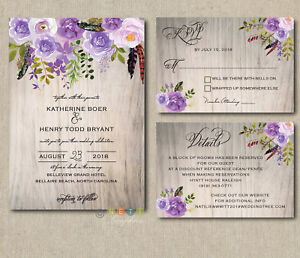 Image Is Loading 100 Personalized Wedding Invitations Rustic Wood Lavender Lilac