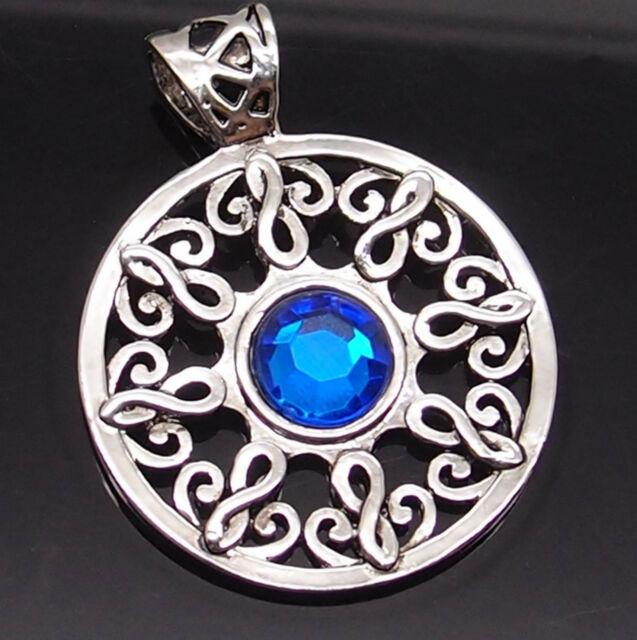 """Celtic Sun Sapphire Blue Silver Tone Pewter Pendant with 20"""" Necklace PP#266"""