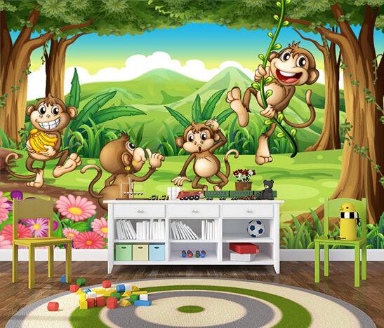 3D Naughty Monkeys 502 WallPaper Murals Wall Print Decal Wall Deco AJ WALLPAPER