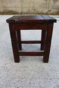 Enjoyable Details About Small Vintage Wooden Side Table Plant Stand Stool Chair Metal Strips 694 Squirreltailoven Fun Painted Chair Ideas Images Squirreltailovenorg