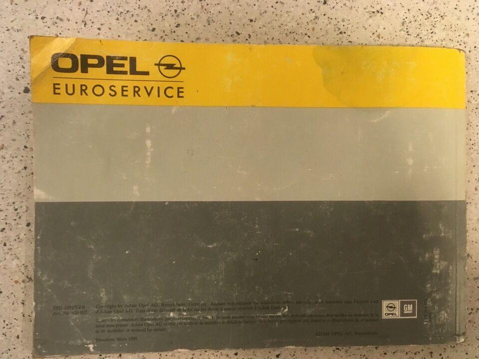 Instruktionsbog, Opel Kadett E