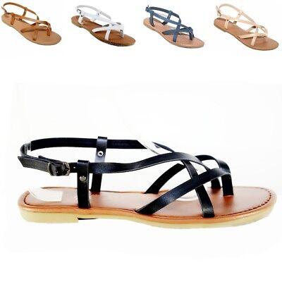 New Women Summer Gladiator Strappy Flat Flip Flops Sandals Black,Tan #152