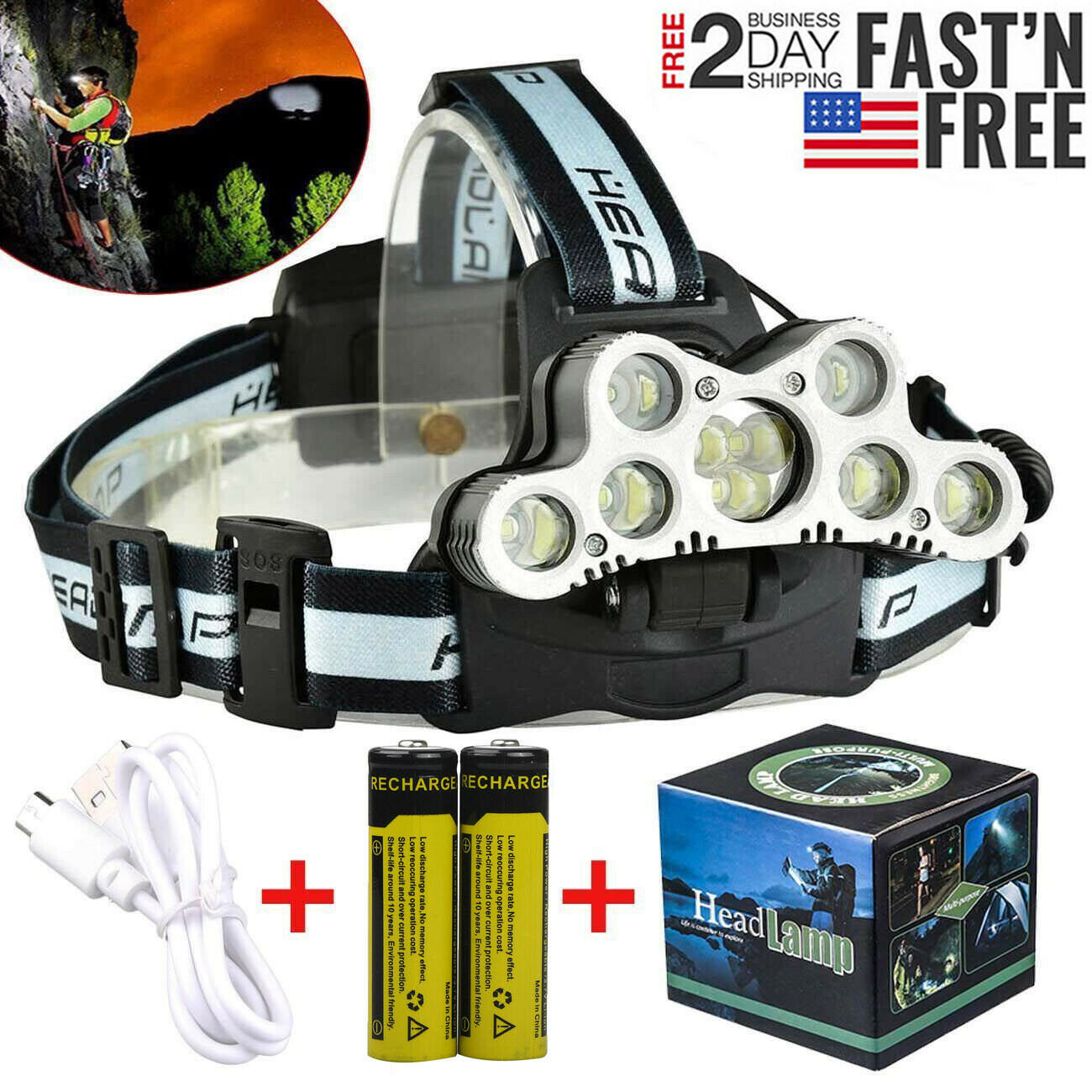 80000LM 5X T6 LED Rechargeable 18650 USB Headlamp Headlight Head Torch AO