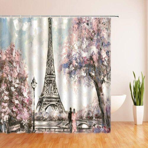 Pink Floral Eiffel Tower Couple Floral Umbrella Paris Fabric Shower Curtain
