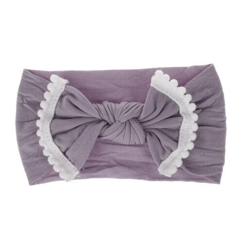 Cute Baby Kids Big Bow Hairband Nylon Stretch Turban Knot Head Wrap Headband ##