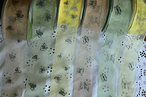 Sheer-Butterfly-amp-Bumble-Bee-Print-38mmWide-3-amp-5Metre-Lengths-3-Colour-Choice-CR5