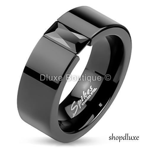 MEN/'S PRINCESS CUT CZ BLACK IP STAINLESS STEEL WEDDING RING BAND SIZE 7-14