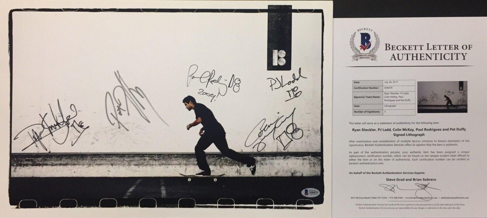 Ryan Sheckler PJ Ladd Colin McKay Paul Rodriguez P. Duffy Signed 12x18 Photo BAS
