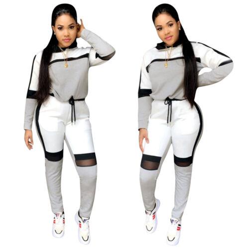 Women/'s Lovely Mesh Patchwork Long Sleeves Drawstring Sporty Long Pants Set 2pcs