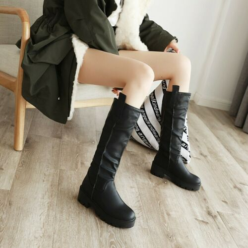 Size 34-46 Women Leather Riding Mid Calf Boots Casual Flat Outdoor Combat Shoes