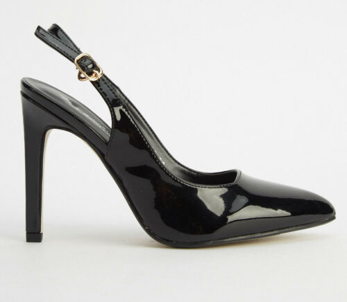 SIZE 2.5 3 3.5 4 BLACK PATENT HIGH HEEL SLINGBACK COURT OFFICE WORK SHOES BNWB