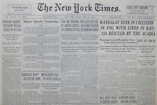 5-1938 May 29 MANDALAY SUNK IN COLLISION IN FOG WITH LINER. CHINA JAPAN WAR