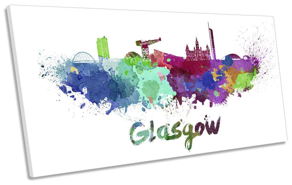 Glasgow Watercolour Skyline Framed PANORAMIC CANVAS Drucken Wand Kunst