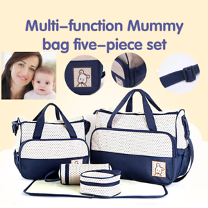 5Pcs Diaper Bags Set Shoulder Travel Baby Nappy Changing Bag Mummy Handbag ACB#