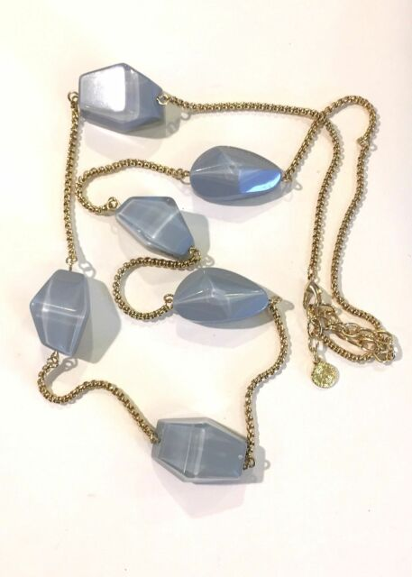 VINTAGE Graziano Signed Chunky Lucite Long Chain Necklace COSTUME JEWELRY JVJ49