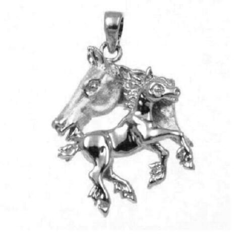 Sterling Silver Mother /& Baby Horses 3 Dimensional Pendant Made in USA 18 Italian Box Chain