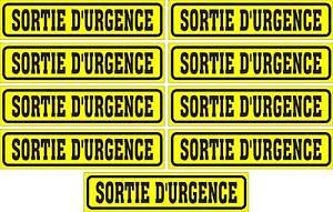 LOT-DE-9-AUTOCOLLANTS-LUSTRE-SORTIE-D-039-URGENCE-POUR-INTERIEUR-OU-EXTERIEUR