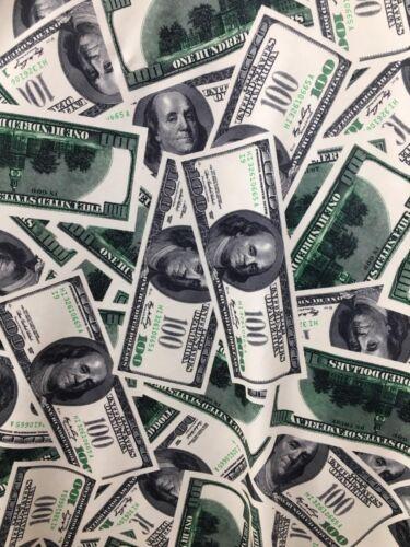"Money pattern 4 way stretch spandex fabric BTY 60/"" one hundred dollar bill"
