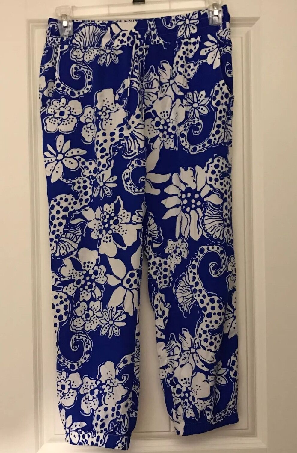 Lilly Pulitzer Quahog Chowdah Cambridge Palazzo Pants Seahorses Floral bluee S