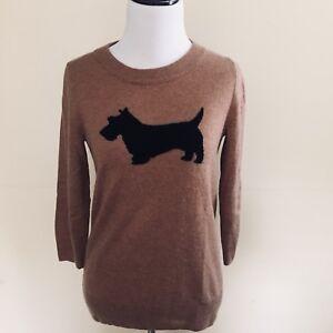 Jcrew-Camel-Pullover-Sweater-W-Scottish-Dog-Size-XS