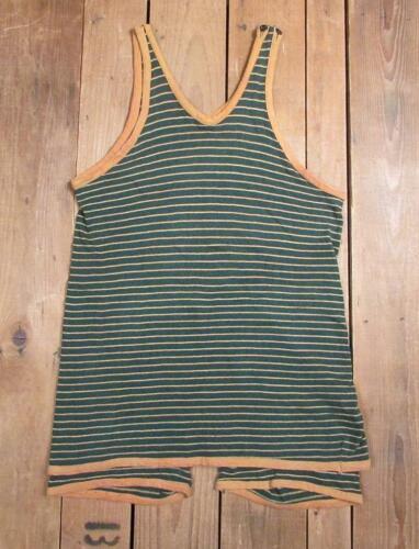 Vintage 1930s Black/Orange Striped Wool Knit Swims