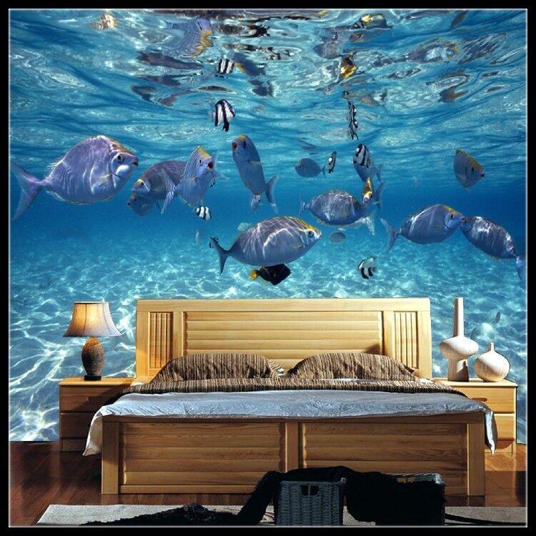 3D blueer Meer Fisch 83 Tapete Wandgemälde Tapete Tapeten Bild Familie DE Summer