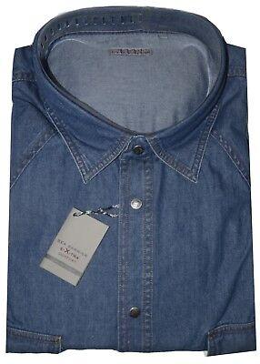 Camicia Jeans Uomo Taglie Forti 3xl 4xl 5xl 6xl 7xl Calibrata Oversize Tonga Costruzione Robusta