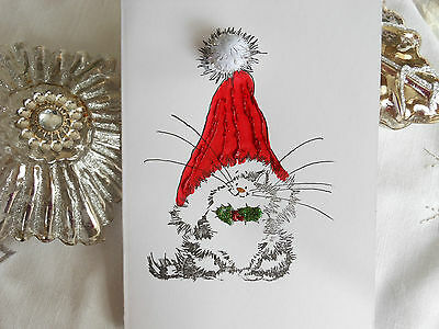 1 Handmade Cat in a Hat Christmas Card with glitter pom pom