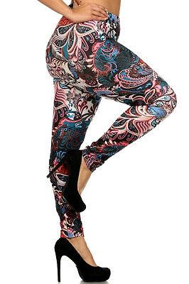 SOFT Multicolor DAMASK brushed PAISLEY FLORAL Leggings pants PLUS 1X 2X 3X 4X