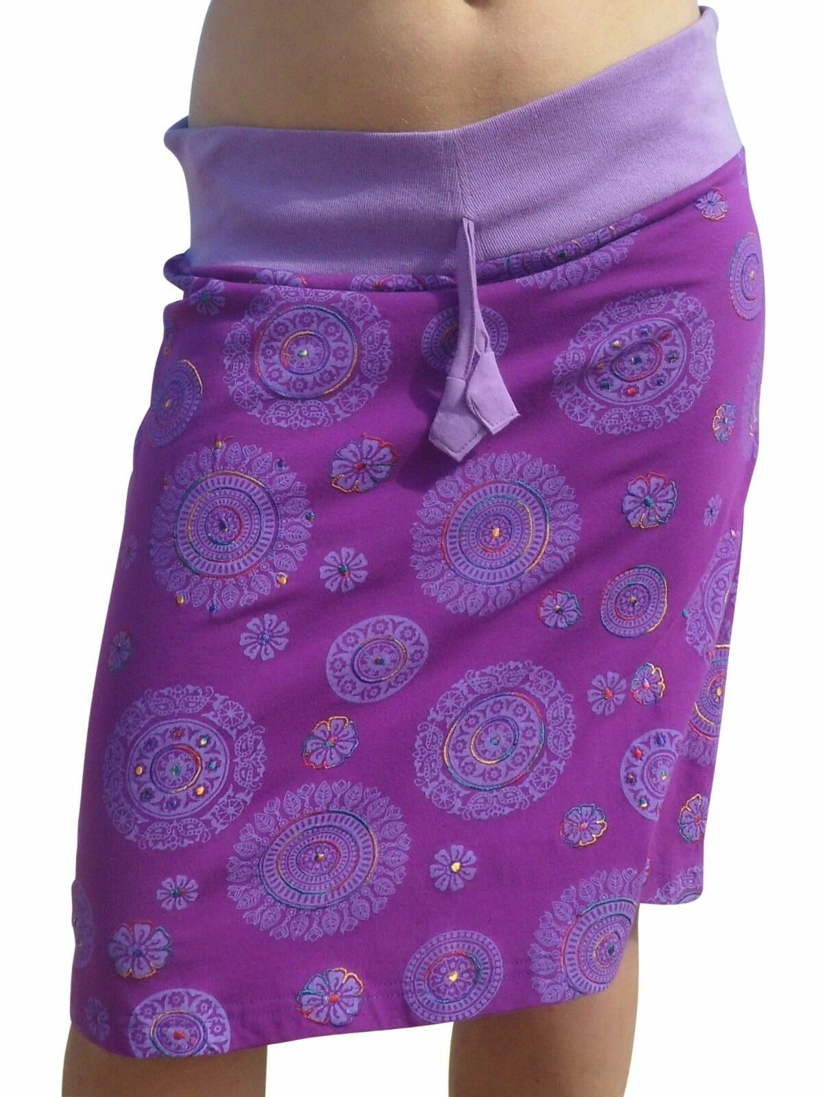 FAIR TRADE COTTON DRAWSTRING PRINTED HAND EMBROIDERED SKIRT FREE SIZE 10 - 18