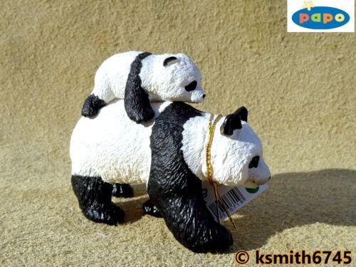NUOVO * Papo PANDA /& BABY giocattolo di plastica solida Wild Zoo Animale Asiatica