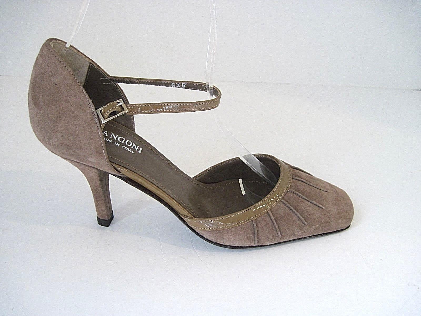 New Rangoni Taupe Suede Patent Leder Trim Heels Mary B Jane Größe 5 1/2 B Mary  75506d