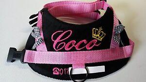 Hundegeschirr-Softgeschir-S-M-L-mit-Namen-Brustgeschirr-Halsband-schwarz-rosa