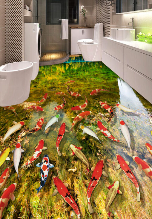3D Bright Fish Pond 835 Floor Wall Paper Murals Wall Print AJ WALLPAPER UK Lemon
