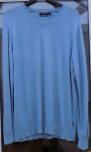 Ltd-Use-Unmarked-Mens-NAUTICA-Pale-Blue-Cotton-Wool-V-Neck-Jumper-L-44-034-Pit-Pit