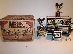 1928-Marx-Merry-Makers-Band-w-Original-Box-Dancing-Mice-w-Piano-C7-C8-Cond