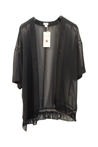 Damen Bluse Tunika Angel of Style offen schwarz transparent Gr 48 50 52 54  B134